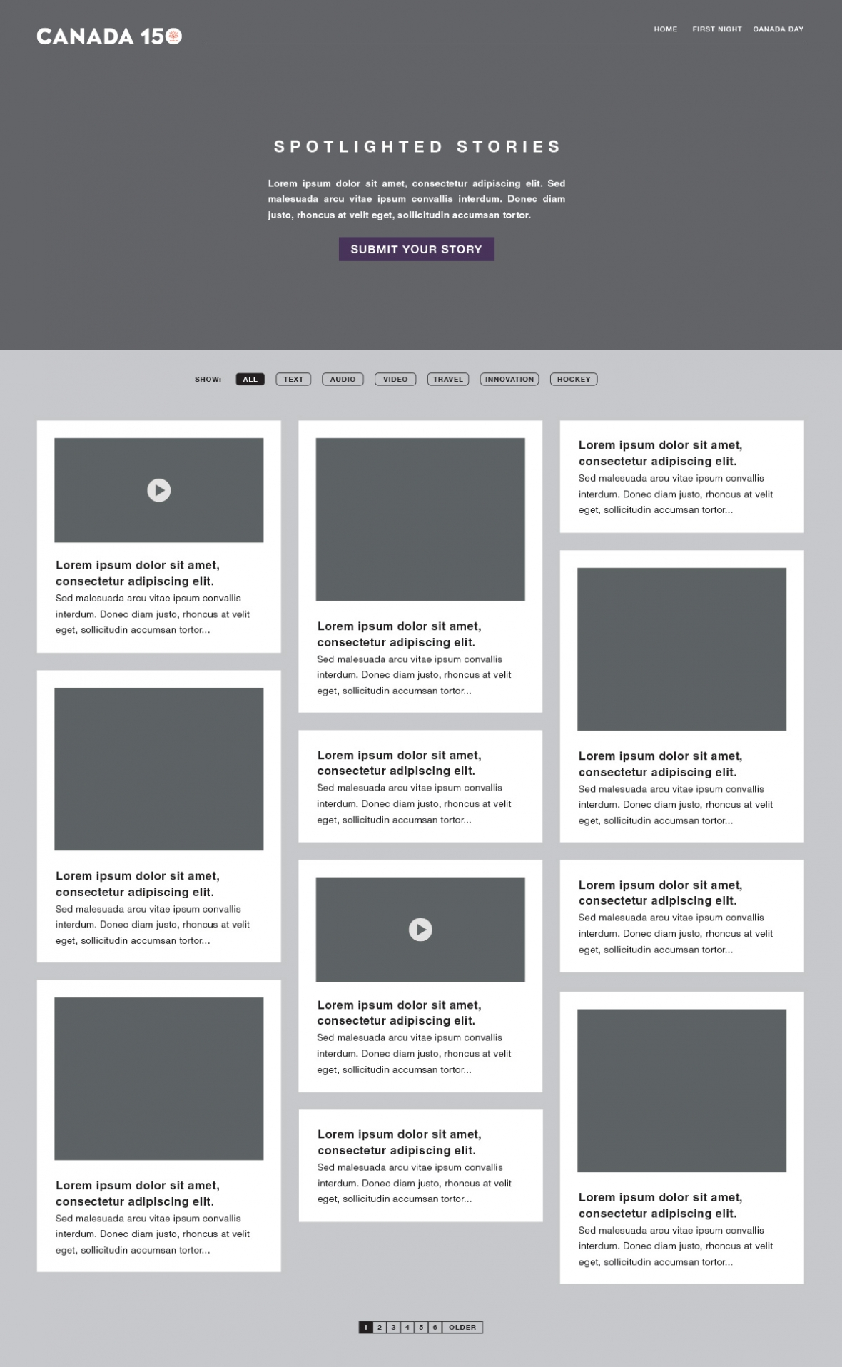 Spotlighted Stories Wireframe