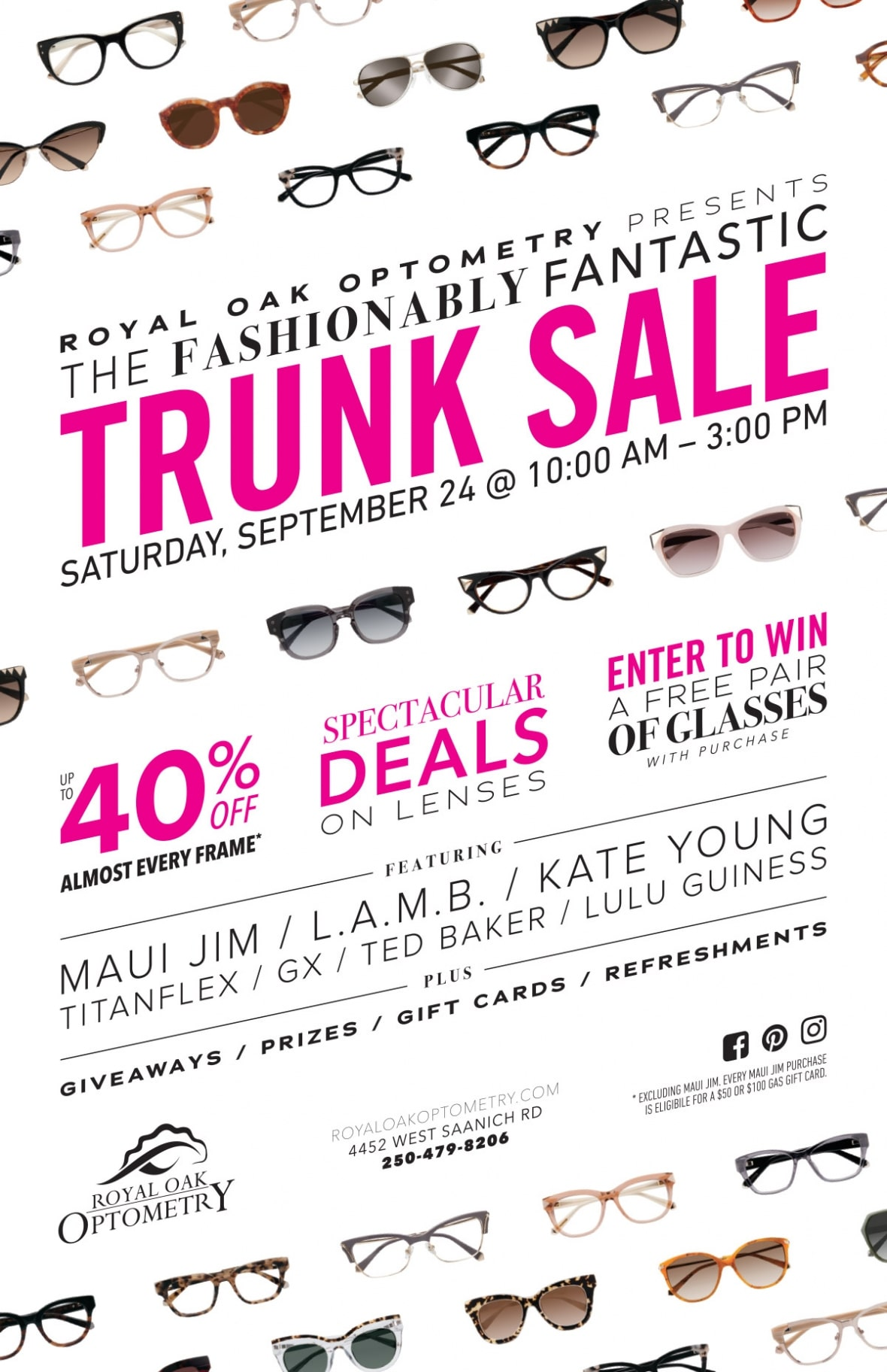 Royal Oak Optometry trunk sale poster