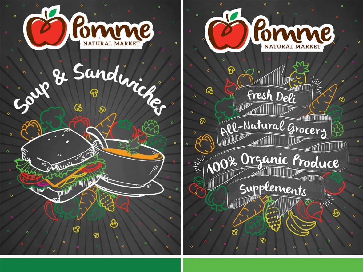 Pomme Natural Markets sandwich boards